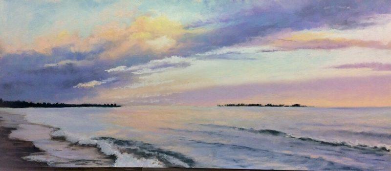 original painting of sunset at Presqu'ile beach on Lake Ontario