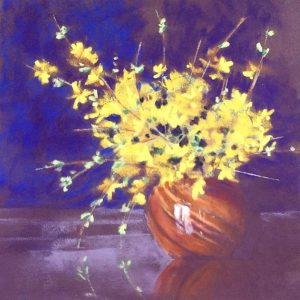 "FORSYTHIA by Helen VAN POORTEN, soft pastel on paper, framed, 9""x 9"", $250"