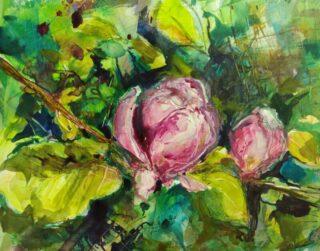 original mixed media painting AND THE NIGHTINGALE SINGS by elizabeth VERCOE