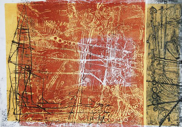 Monoprint art piece in shades of orange, yellow, black and white