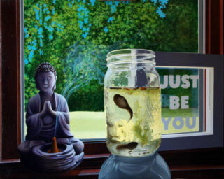 original oil painting of tadpoles in a mason jar in fron of a stone budda