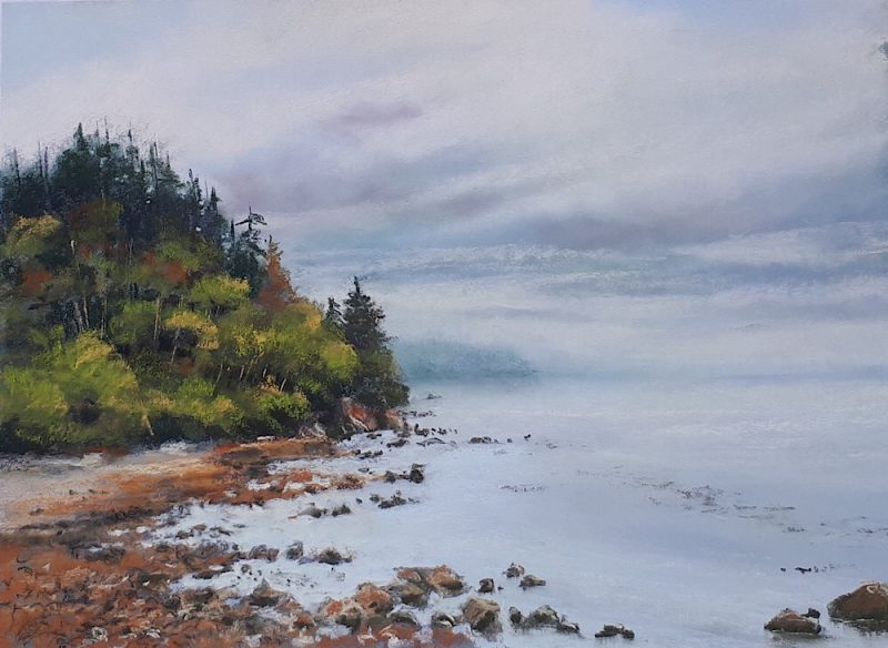 Pastel painting of low tide