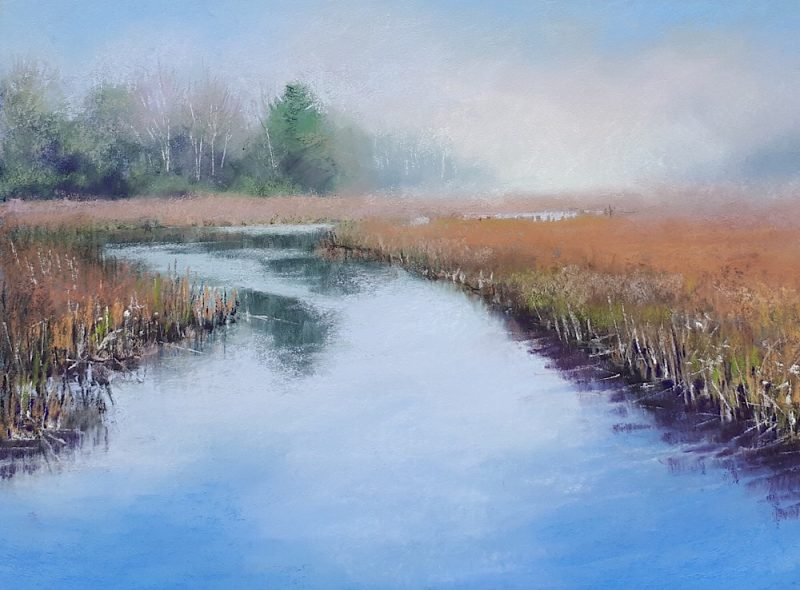 original pastel painting of a misty morning landscape of marshland, distant trees and waterway