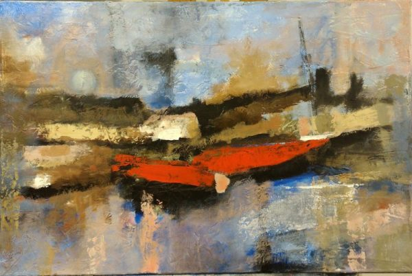 """AS I WAIT FOR MY LOCK TO CYCLE by ELIZABETH VERCO, Mixed Media on canvas, framed, 24""""x36"""", $1000"""