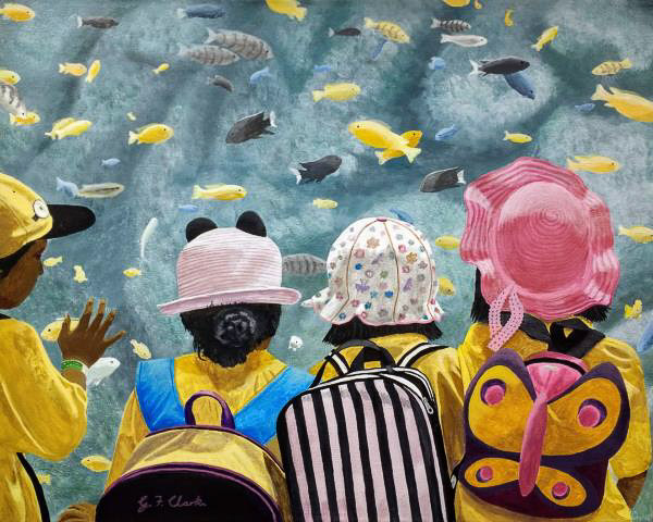 Acrylic painting of little children looking a fish in an aquarium
