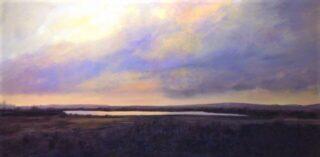 Acrylic painting of prairie twilight