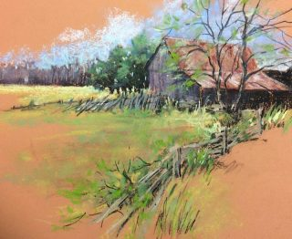 "SPRING GREEN by Helen van POORTEN, Pastel, framed, 12"" x 16"", $250"