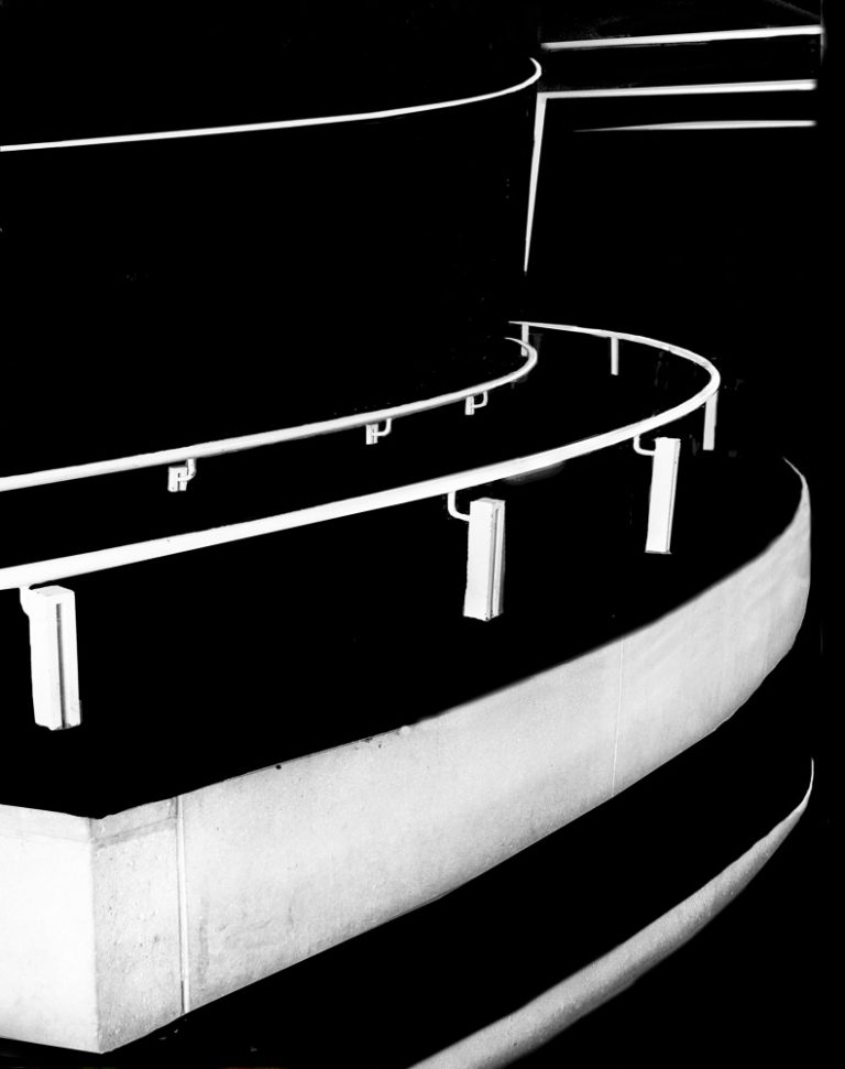 Black and White Photograph of a winding ramp