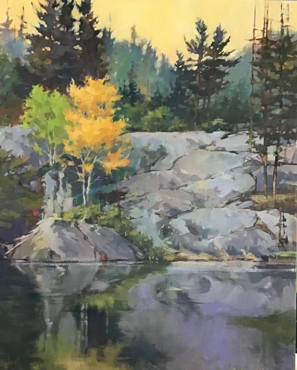Oil painting landscape of shoreline of rocks and trees reflecting in a lake