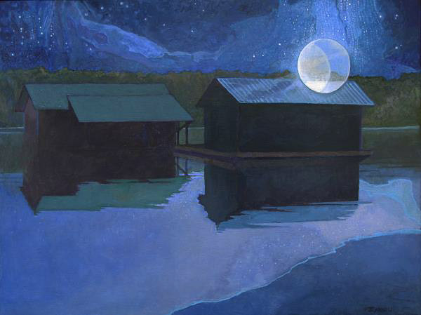 Acrylic painting of mystic night scene of buildings reflecting in still water