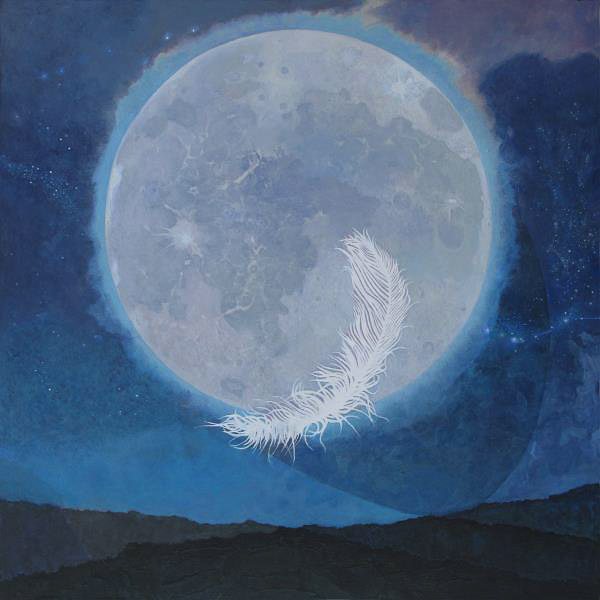 Acrylic painting of a feather superimposed over a full moon