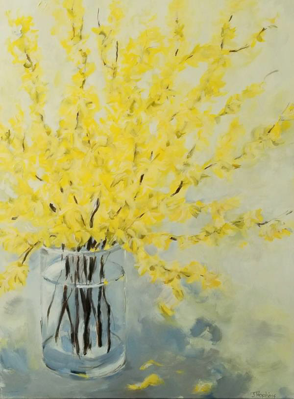 Acrylic painting of forsythia branches in a clear vase