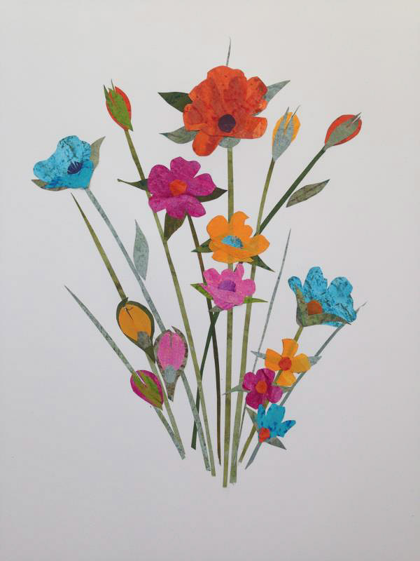 An art collage of flowers and stems