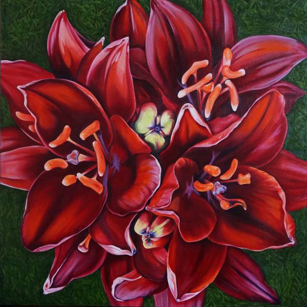 Oil Painting of Red Lily blooms