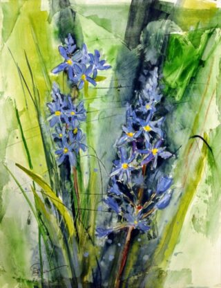 mixed media painting of blue wildflowers
