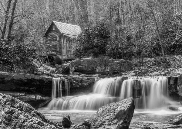 Black and White Photograph of Glade Creek Mill