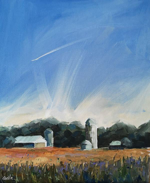 Oil Painting of Farm , outbuildings and silos.