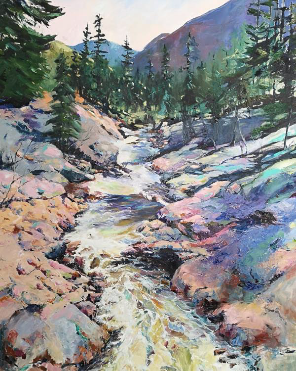 Oil painting of a mountain river.