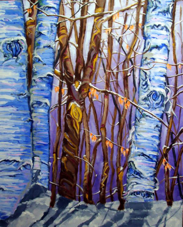 Winter Birch Forest, Oil Painting by Wayne Lovett