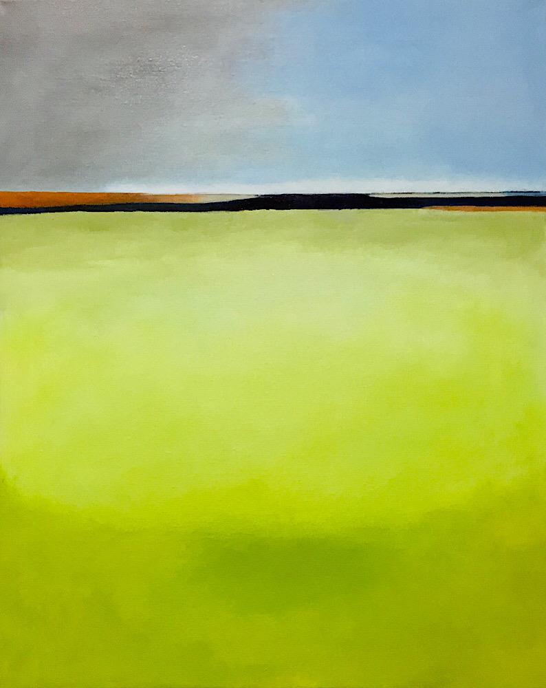 Original oil painting landscape with large expanse of yellow green foreground