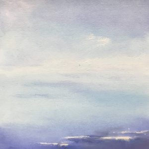 """FLOATING by CLARE BONNELL, Oil on paper, mounted on birch board, 8""""x8"""", $125"""