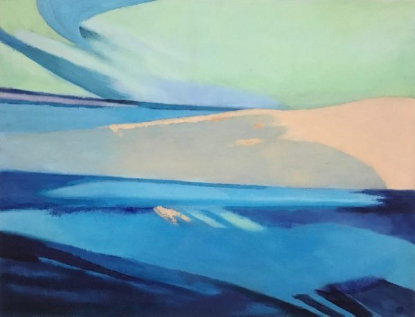 """LAKE EXPRESSION by CLARE BONNELL, Oil on paper, mounted on Birch Panel, 24"""" x 20"""", $250"""