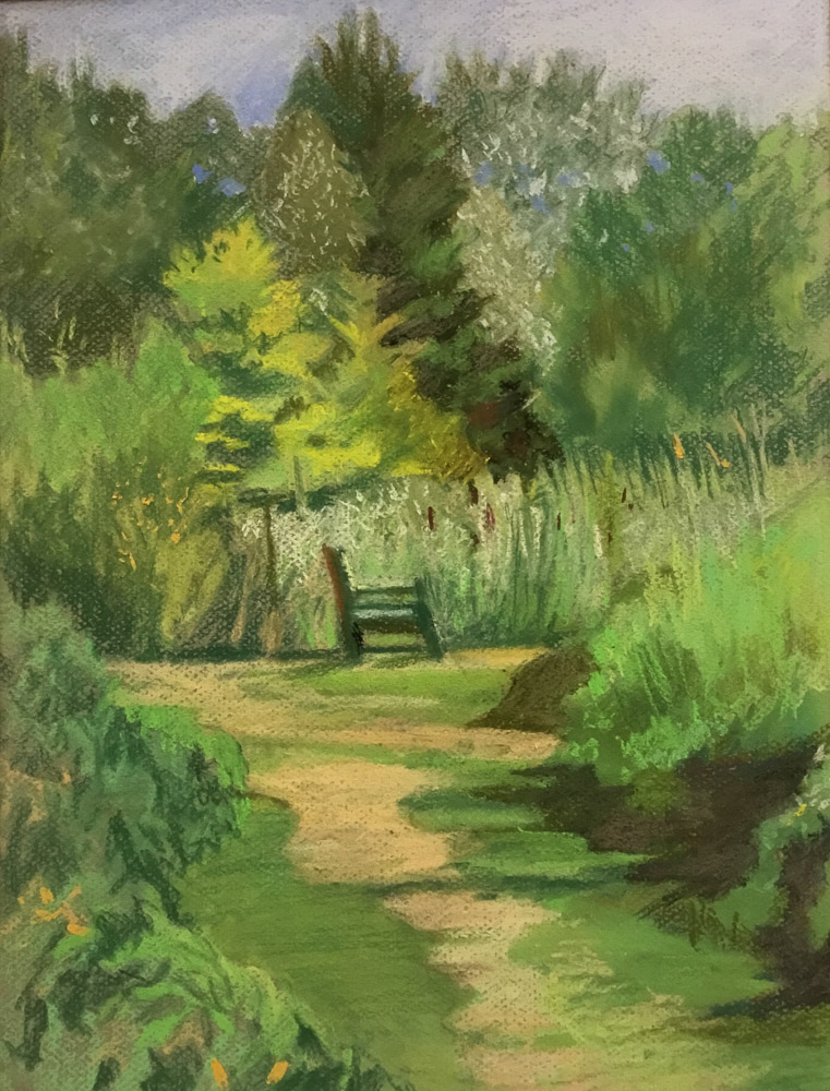Clare Bonnell Painting of Garden Bench