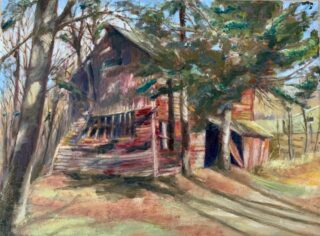 original oil painting of an old barn by eileen MYERS