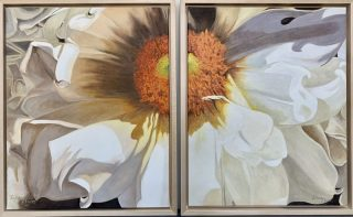 "DAHLIA POWER by Eileen MYERS, Diptych, Oil, Framed, 16""X20"" X2, $525"
