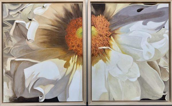 """DAHLIA POWER by Eileen MYERS, Diptych, Oil, Framed, 16""""X20"""" X2, $525"""