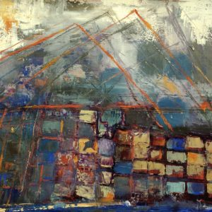 """MPORT/EXPORT by ELIZABETH VERCOE, Mixed Media on paper mounted on canvas, 12""""x18"""", $700"""