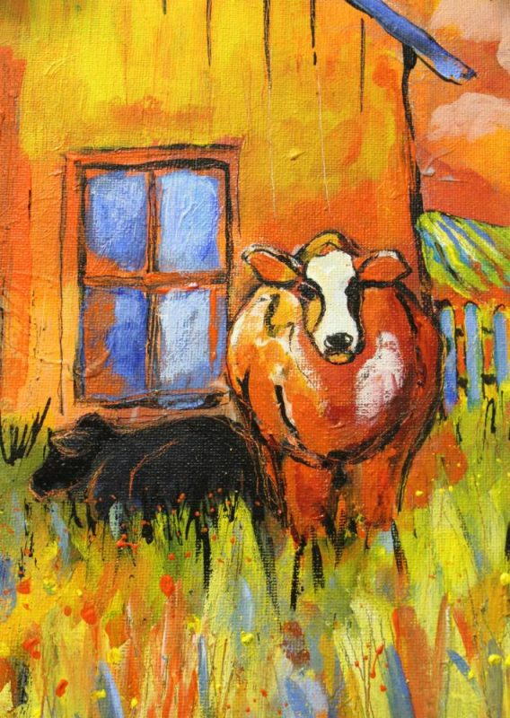 colourful oil painting of 2 cows next to a barn