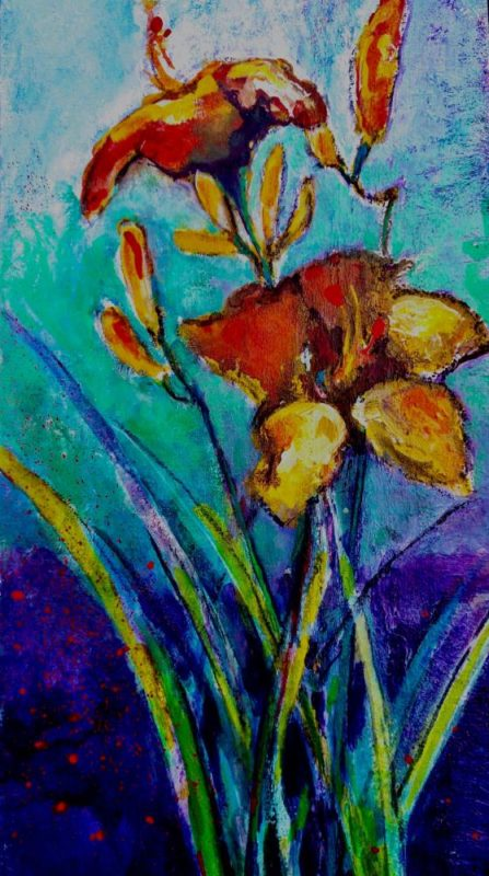 colourful original oil painting of a garden lily
