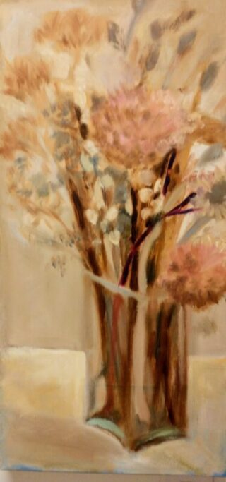 original oil painting GARDEN DETRITUS by clare BONNELL