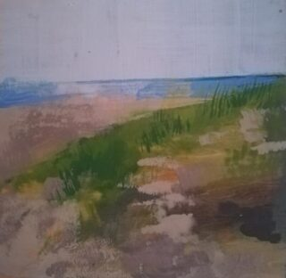 Encaustic painting of a beach in summer by Heather Roy