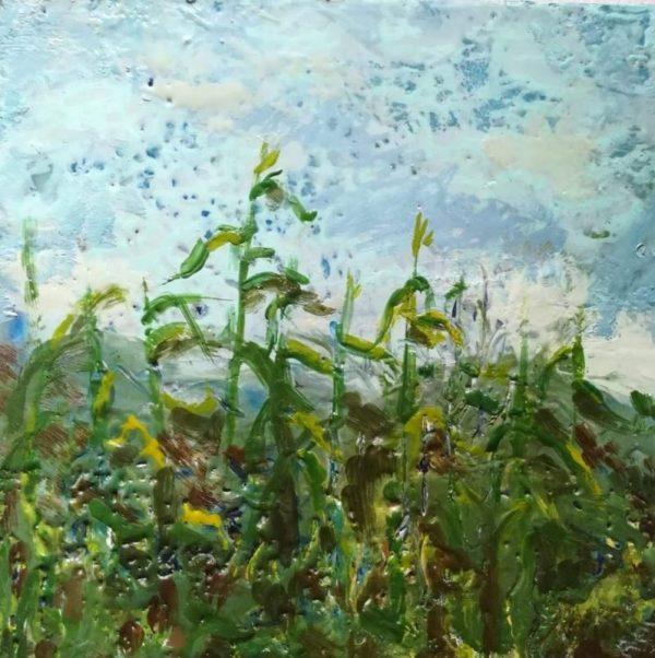 Original encaustic art of corn field