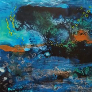 encaustic art of tree and aquatic life