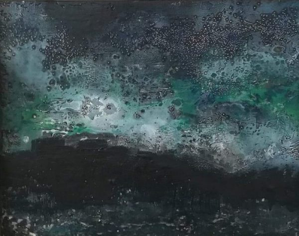 dark moody encaustic art depicting a storm over a lake