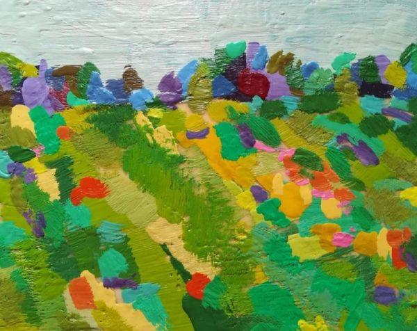 encaustic art depicting a colourful summer field
