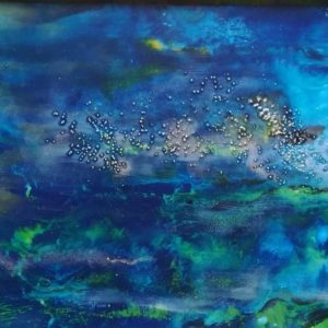 colourful green and bluesencaustic art depicting a view of a lake