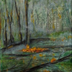 original art of forest burning and intrusion of hydro towers