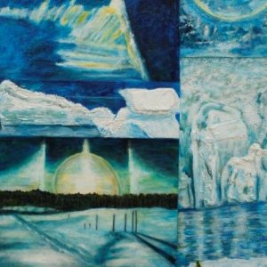 original acrylic & mixed media on canvas of polar ice melting