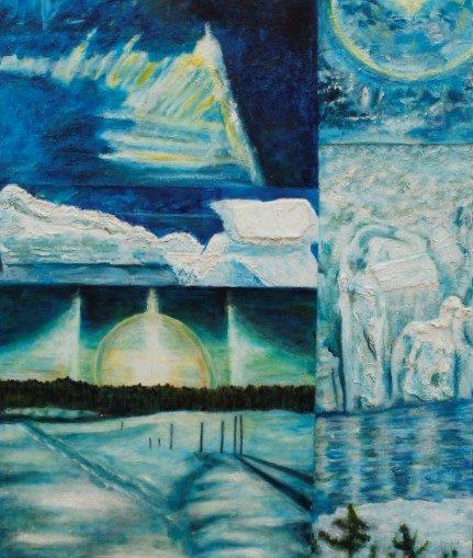 original acrylic & mixed media on canvas of polar ice melting
