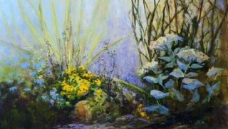 original acrylic painting of garden flowers and willow by Sue Wilkins
