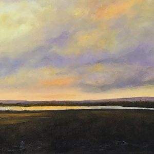 original painting of prairie sky and lake