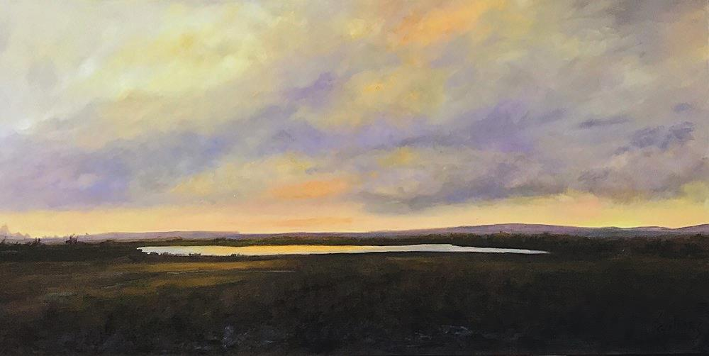 original painting of prairie sky and lake