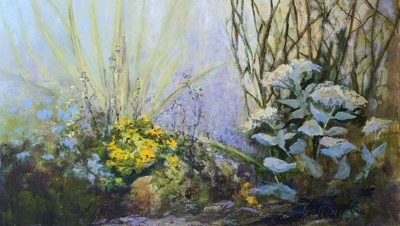 Original painting in Acrylic of garden flowers and plants plants