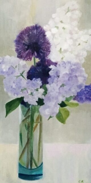 original oil painting by Clare Bonnell purple flowers in a vase